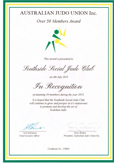 Congratulations to Southside Social Judo Club on reaching 50 members.